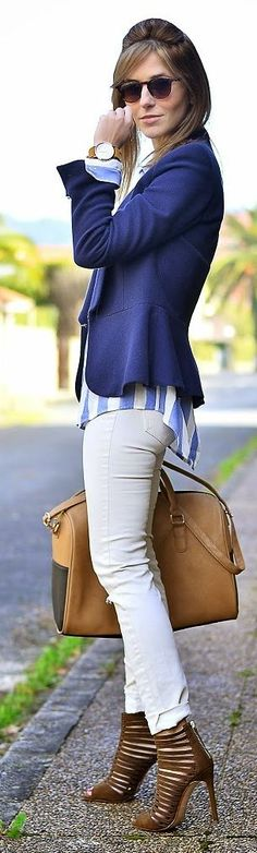 Cream And Blue Inspiration Outfit