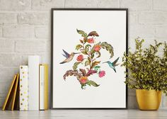 watercolor print/watercolor bird print/flower bird painting/floral bird illustration/wall Decor/wall art/kitchen decor/romantic watercolor by AllThatArtVille on Etsy