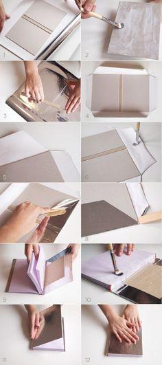 Super Book Binding Step By Step Ideas Handmade Notebook, Diy Notebook, Handmade Books, Diy Agenda, Book Crafts, Crafts To Do, Paper Crafts, Carton Diy, Book Repair