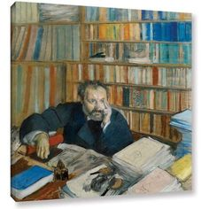 Edgar Degas Portrait of Edomond Duranty Gallery-wrapped Canvas Art, Size: 24 x 24, Orange