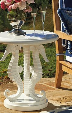 Cute seahorse outdoor table.  follow me on facebook at www.facebook.com/sandisseahorsegallery