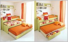 bed with two trundles - Google Search LOVE THIS BED(s) but it is made in Italy....too much to ship