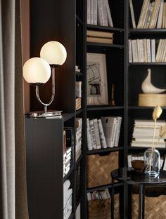 SIMRISHAMN Table lamp with LED bulb, chrome plated, opal glass - IKEA Cheap Table Lamps, Side Table Lamps, Bedside Tables, Floor Standing Lamps, Floor Lamp, Ikea Family, Led Lampe, Chrome Plating, Light Decorations