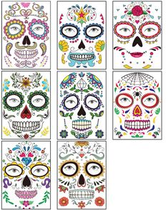Halloween Face Tattoos Sticker 8 Sheets Day of the Dead Sugar Skull Floral Black Skeleton Web Red Roses Full Face Mask Tattoo for Women Men Adult Mexican Halloween Party Favor Supplies *** Be sure to check out this awesome product. (As an Amazon Associate I earn from qualifying purchases)