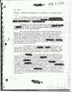 Declassified document on brainwashing and hypnosis experiments.  (MK Ultra, Project Aritchoke, Operation Paperclip)