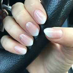 Almond shaped nails ombré French manicure