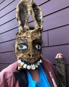 @crookedcrowmasks posted to Instagram: This customer asked for a mask to #scarethekids - #anoblecause Custom order #folkart #scaryrabbitmask #creepyaf #masks #props #crookedcrowmasks Crow Mask, Authentic Costumes, Bunny Mask, Scary Mask, Lowbrow Art, Movie Props, Animal Heads, Pop Surrealism, Outsider Art