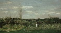 Spring Landscape. 1862           Charles-François Daubigny ( 1817-1878, French Barbizon School Painter, Oil on canvas, 133 х 240 сm, Alte Nationalgalerie, Berlin ).