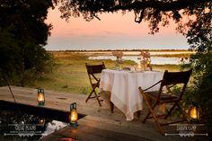 Romantic sunset dinner overlooking the Zibadianja Lagoon   Zarafa Camp