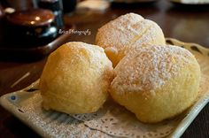 Chinese Souffle egg white balls stuffed with red bean and banana from ...
