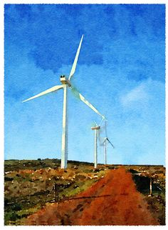 Digital drawing in Photoshop of a Wind turbine in Darling South Africa