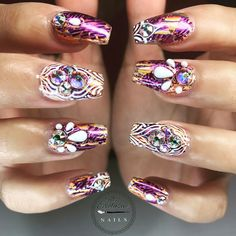 """240 Likes, 2 Comments - ▪▫ H A L L E Y ▫▪ (@missexclusivenails) on Instagram: """"Flashy&Classy 💜🍑 - - @missexclusivenails - 💜🖤💜🖤💜 - - featuring @tammytaylornails 💅🏼 - - Crystal…"""""""