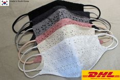 DHL service is only available due to by Laceking on Etsy Diy Face Mask, Face Masks, Diy Mask, Small Faces, Fashion Face Mask, Photo Booth Backdrop, Eyelet Lace, Mouth Mask, Lace Fabric