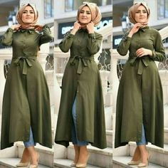 Olive belted dress with jeans-Spring casual outfits for hijabi women