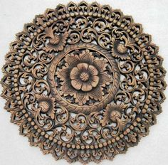 Round carved wall medallion for above the fireplace Carved Wood Wall Art, Wooden Art, Hand Carved, Wood Sculpture, Sculptures, Wood Carving Designs, Chip Carving, Teak Wood, Home Decor Furniture