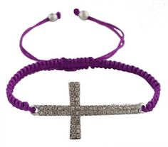 61% Off was $4.95, now is $1.95! Purple Lace Style Silver Iced Out Sideways Cross Macrame Bracelet