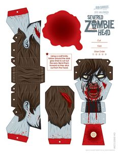 841 zombie papertoy template Zombie head