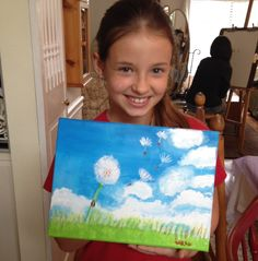 Sarah's acrylic painting of Dandelion Wishes!