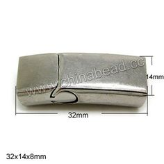 Jewelry Findings, Magnetic stainless steel cord clasp, Approx 32x14x8mm, Hole: Approx 12x6mm, 10 sets per bag, Sold by bags