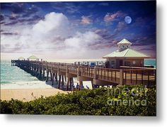 Metal Print for Outdoors #Juno #Beach #Pier #Treasure #Coast #Florida #Seascape #Dawn C5a #FL #Moon #Skyscape #Photography by #Ricardos #Creations #Metal #Print #Outdoor #Art