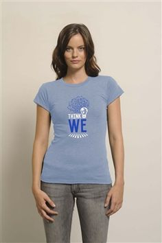 Think We Light Bulb Tee graphic printed on our 50/50 blend of recycled polyester and organic cotton in Heather Blue. Ultra soft with a slim fit, this tee will show the world you're ready to make a difference! Shop at www.metowestyle.com