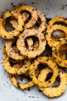 SUMAC-ROASTED DELICATA SQUASH W/ ZIPPY GREEN TAHINI — dolly and oatmeal Squash Varieties, Pumpkin Squash, Baby Arugula, Sweet Potato Wedges, Gluten Free Pasta, How To Double A Recipe, Grilled Salmon, Quick Snacks, Boiled Eggs