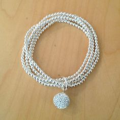 Silver ball bracelet (5 strands, 3mm balls with 14mm infinity ball)
