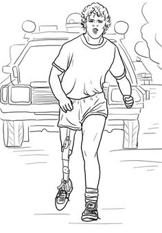 Terry Fox Run coloring page from Famous people category. Select from 23894 printable crafts of cartoons, nature, animals, Bible and many more.