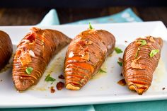 Hasselback Sweet Potatoes with Maple-Cinnamon Butter and Bacon Recipe…