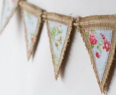Want more burlap decor ideas? Make your own bunting or garlands with burlap. Burlap Projects, Burlap Crafts, Fabric Crafts, Sewing Projects, Craft Projects, Diy Crafts, Craft Ideas, Burlap Bunting, Bunting Garland