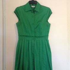 """HP  - Kelly Green Dress Bright green London Times cap-sleeve dress. Buttons go all the way down the dress. Cotton dress, but very thick and nice quality. Size 8.   Measurements: (laying flat) Waist: 14.5"""" Bust: 17.5"""" Length: 40"""" London Times Dresses"""