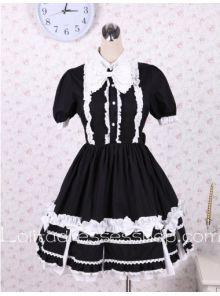 Black Cotton Flouncing Hem Stand Collar Cute Classic Lolita Dress