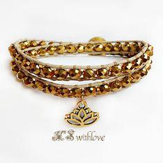 Bohemian Golden Bracelet, Beaded Wrap Bracelet, Lotus Charm, Lotus Bracelet, Yoga Bracelet, Handmade Golden Bracelet, Positive Bracelet by MSwithlove on Etsy