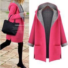 Hooded Long Sleeves Casual Plus Size Mid-length Wool Coat
