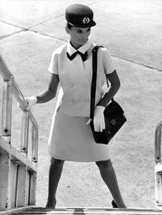 Air France stewardess uniform 1969 created by Balenciaga (Summer collection)