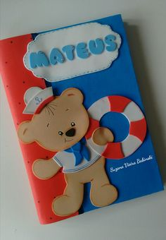 Urso marinheiro Owl Crafts, Diy And Crafts, Paper Crafts, Bazaar Ideas, Card Patterns, Smurfs, Projects To Try, Lily, Baby Shower