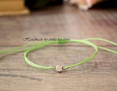 Green String Bracelet. Crystal Bracelet. Make a Wish Lucky Amulet, Women, Men #Handmade #Friendship