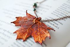 Small Fallen Copper Maple Leaf Necklace, Real Leaf jewelry featuring an electroplated copper maple leaf...by EnchantedLeaves.com. Purchased!