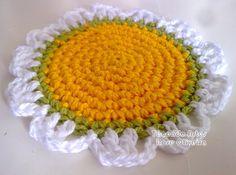Tecendo Artes em Crochet: Coaster Flor de Camomila