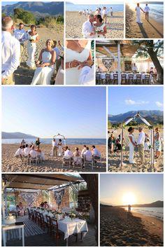 Beach wedding with beach bar reception, Chania area Crete Beaches, 2015 Wedding Dresses, Beach Bars, Weeding, Real Weddings, Wedding Planner, Reception, Image, Viajes