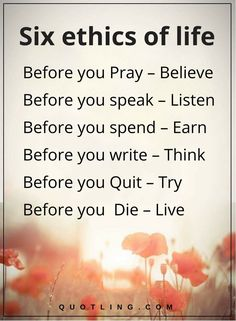 life quotes Six ethics of life before you Pray – Believe Before you speak – Listen Before you spend – Earn Before you write – Think Before you Quit – Try Before you Die – Live.