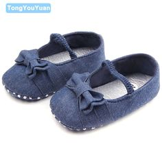 New Arrival Solid Navy Blue Butterfly-Knot Soft Sole Newborn Baby Shoes For Girls 0-15 Months #Affiliate
