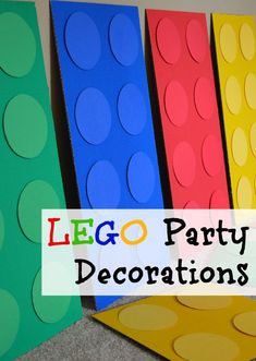 If you have a LEGO-lover, we've got lots of fun LEGO party ideas! These LEGO party decorations are super adorable and easy to make! Lego Movie Party, Lego Movie Birthday, Lego Themed Party, Birthday Party Games, 4th Birthday Parties, Lego Party Games, 5th Birthday Ideas For Boys, Lego Parties, 7th Birthday