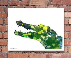 Crocodile Art Print  Abstract Watercolor Painting by 1GalleryAbove