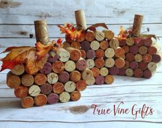 Set of Three Wine Cork Pumpkins by TrueVineGifts on Etsy