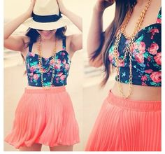 Floral crop tank and peach flowy skirt