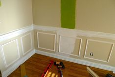 diy: add molding beneath a chair rail - her way looks easier than others I've seen!... THIS WEBSITE HAS OTHER GREAT IDEAS #ChairRail