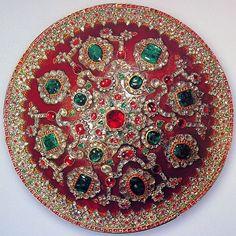 "treasures-and-beauty: "" Gem-set Mughal shield. Mughal Jewelry, Indian Jewelry, Antique Jewelry, Vintage Jewelry, Vintage Items, Royal Jewels, Crown Jewels, Mughal Empire, Rhinoceros"