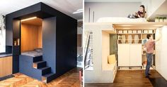 17 tiny apartment hacks that can save you a lot of space. Fake Walls, Huge Mansions, Apartment Hacks, Apartment Kitchen, Loft, Tiny Apartments, Space Saving, Small Spaces, Kitchen Design