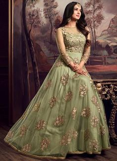 Light Green Embroidered Net Anarkali Suit Anarkali Suits - Shop Designer Anarkali Dress Online – Page 4 – Lashkaraa Indian Wedding Gowns, Indian Bridal Outfits, Indian Party Wear, Pakistani Bridal Dresses, Pakistani Dress Design, Designer Anarkali Dresses, Designer Party Wear Dresses, Indian Designer Outfits, Designer Gowns